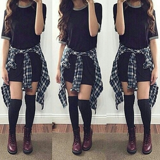 dress black dress simple black dress flannel flannel shirt over the knee socks over the knee drmartens cute outfit tumblr outfit tumblr top tumblr girl tumblr clothes tumblr dress style stylish trendy trending dress on point clothing cute fashionista chill fashion inspo outfit idea blogger shoes