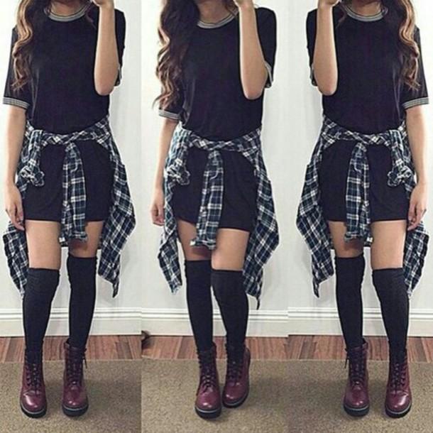 Dress Black Dress Simple Black Dress Flannel Flannel