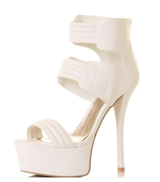 Shoes: high heels, white high heels, white, platform high heels ...