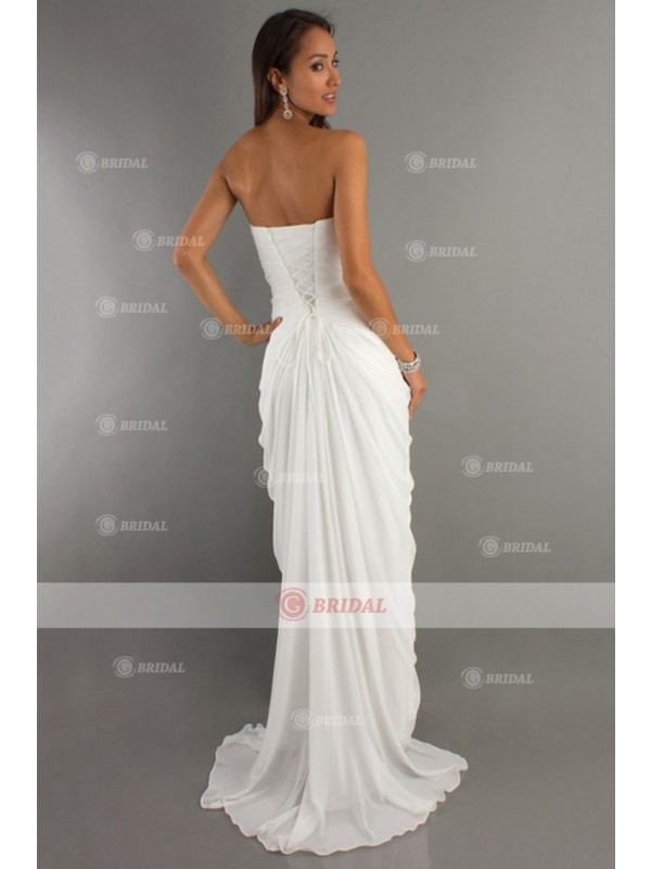 Sheath/Column Sweetheart Lace-up Court Train Chiffon Sleeveless Homecoming Dreses