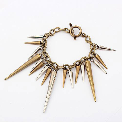 Punk Style Metallic Long Spiked Rivets Charm Chain Bracelet [grxjy51201201] on Luulla