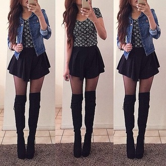 shoes thigh highs thigh high black boots heels skirt black skirt mini skirt dress jacket
