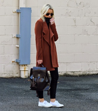 platinum and penniless blogger leather backpack sneakers black jeans coat jeans top jacket shoes bag superga back to school brown coat fall outfits black bag black backpack aviator sunglasses white sneakers casual