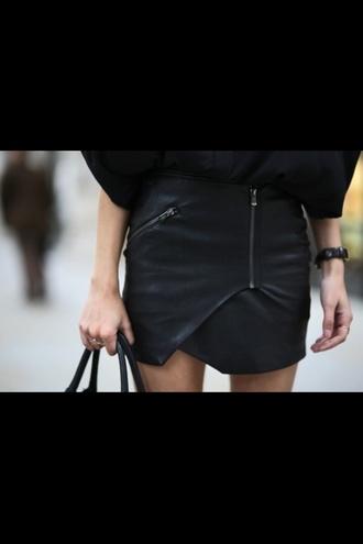 skirt black zip designer fashion matte leather black skirt