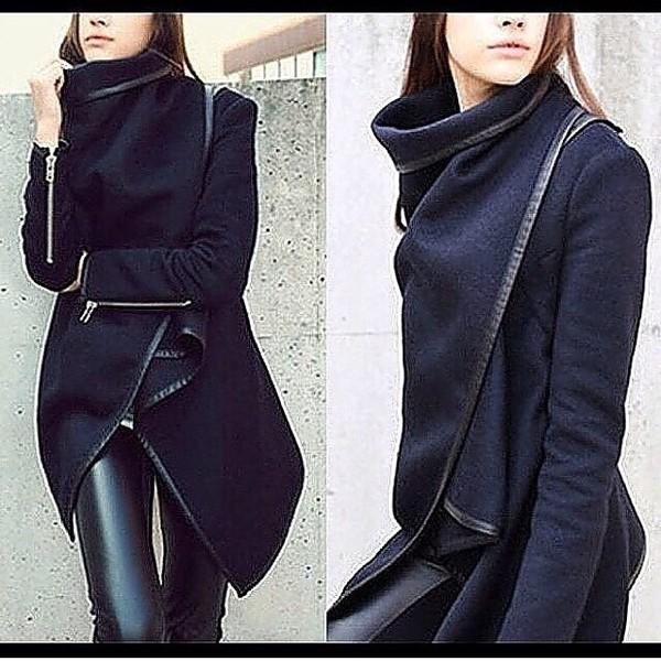 Amoin Womens Pop Woolen Autumn Blazer Windbreaker Coat Jacket ...