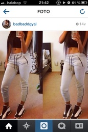 pants,leggings,grey sweatpants,shoes,black and white,white,joggers,grey