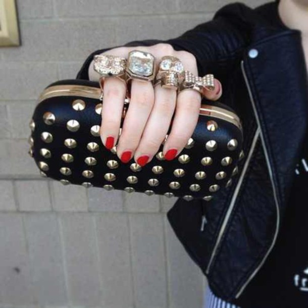 bag black clutch skull