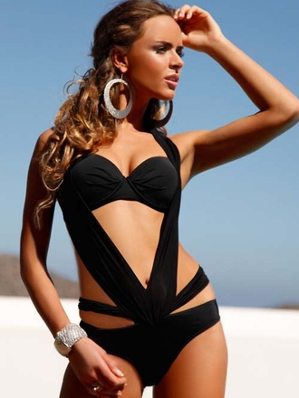 Meriell European Swimwear 2014 -  Ava Black Monokini  - Elite Fashion