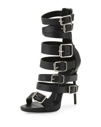 Giuseppe Zanotti Buckled Strap Leather Sandal, Nero - Neiman Marcus