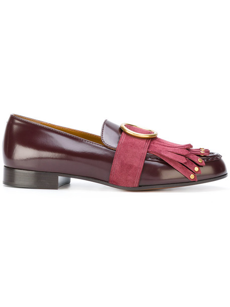 Chloe women loafers leather purple pink shoes