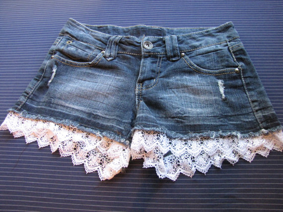 5 denim shorts with lace trim by thriftNsift on Etsy
