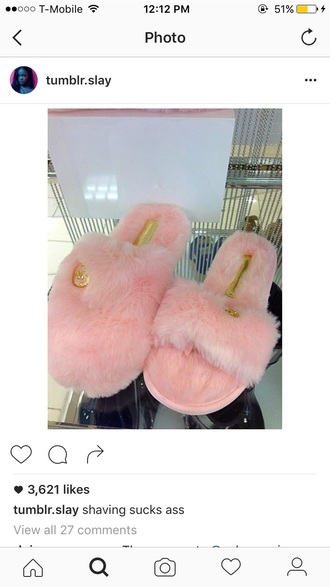 shoes slippers slide shoes fur slippers pink