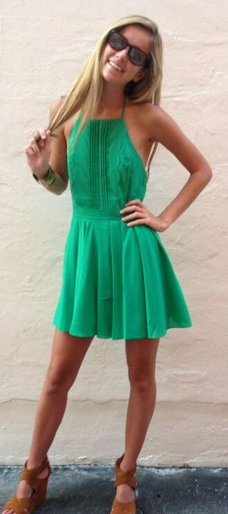 dress green dress short open back