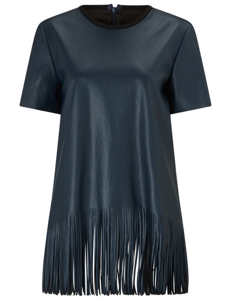Cédric Charlier top leather top leather navy