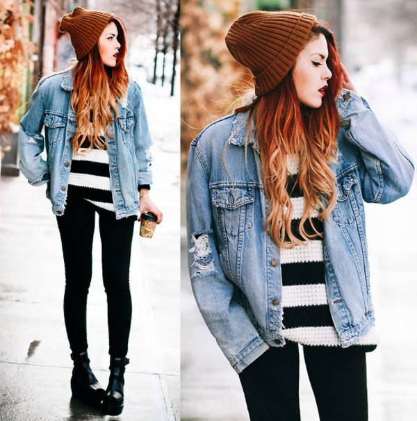 coat edgy jacket jeans blue