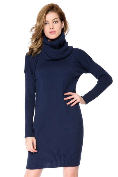 Dress: high collar, high collar dress, navy vlue, short navy blue ...