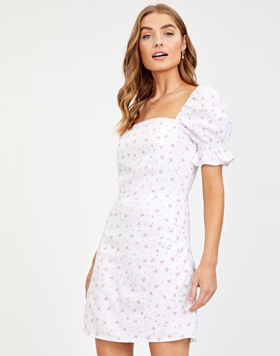 Linen Blend Puff Sleeve Dress