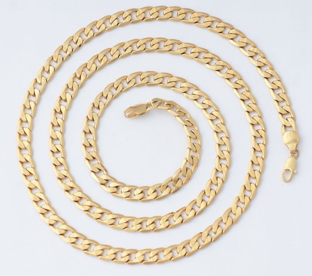 30inches 45g 18K Solid Yellow Gold GF Long Mens Necklace Chain CC09   eBay