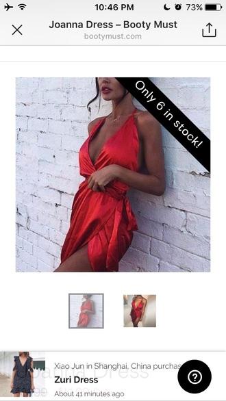 dress red dress silk