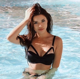 swimwear black bikini black bikini strappy bikini strappy julia two-piece summer bra bikini top bralette strappy bra swimwear two piece crop tops blac crop top bustier