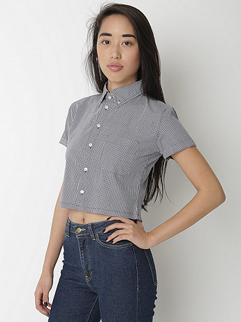 Gingham Cropped Short Sleeve Button Down Shirt | American Apparel