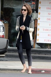 cardigan,fall outfits,lily collins,ballet flats,flats,shoes