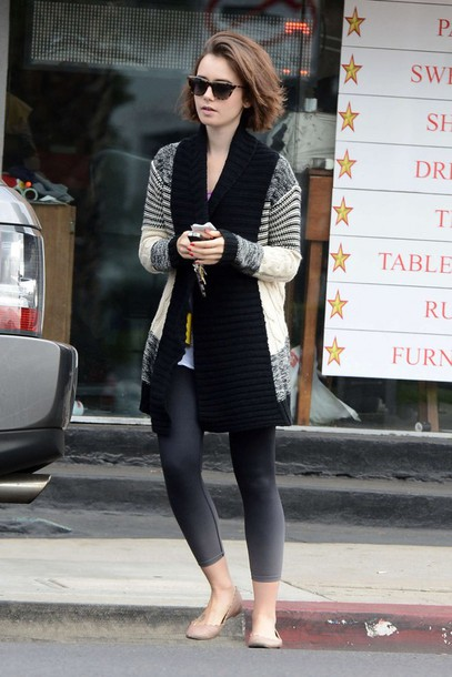 cardigan fall outfits lily collins ballet flats flats shoes