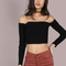 Rib knit sleeved bardot crop top black -shein(sheinside)