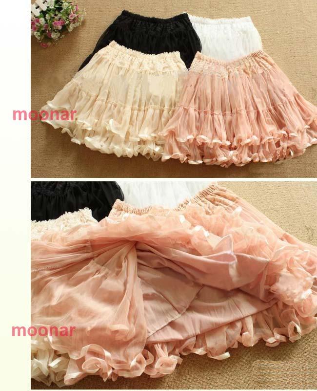 Korea NEW Women Double Lace Mesh Chiffon Flouncing Mini Tiered Skirt Ball 3COLOR | eBay