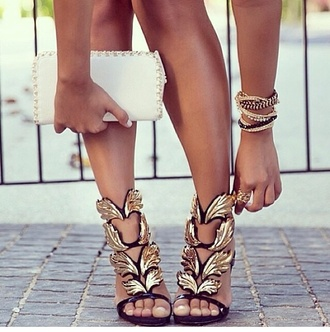 shoes high heels leaves gold black wing high heels girl