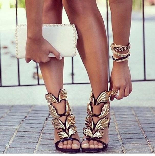 shoes, high heels, leaves, gold, black