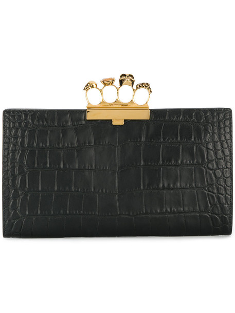 Alexander Mcqueen women clutch knuckle clutch leather black bag