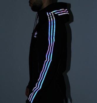 jacket adidas black tumblr tumblr outfit windbreaker holographic windbreaker sportswear reflective iridescent sweater