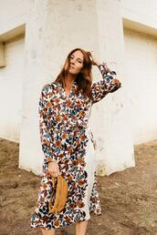 could i have that,blogger,dress,shoes,floral dress,belt bag,fall outfits
