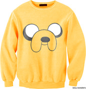 sweater,nice,cool,fashion,fashion must,jake,jake from adventure time,adventure time sweater,out of stock,cute,adventure time,jake the dog,freshtops,cute sweater,yellow,cartoon,clothings
