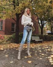 sweater,turtleneck,turtleneck sweater,fluffy,white sweater,knee high boots,snake print,jeans,belt,sunglasses,shoulder bag