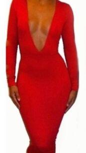 stretch dress,bodycon,tight,pillar box red,plunge neckline,long sleeves,midi length