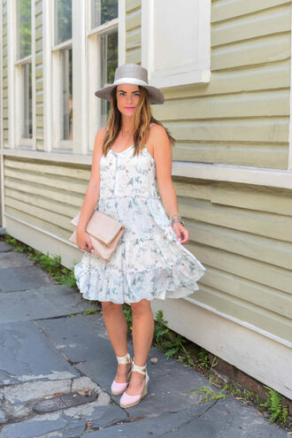 live more beautifully blogger hat bag jewels make-up anthropologie janessa leone tory burch michael kors watch white dress summer dress wedges lace up heels floral dress pouch nude bag grey hat necklace espadrilles wedge sandals