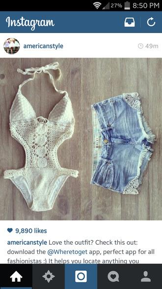 swimwear shorts white bikini summer pinksugarxo americanstyle shirt onepiece bodysuit