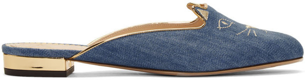 charlotte olympia denim slippers blue shoes