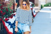 prosecco and plaid,blogger,sunglasses,striped top,denim shorts,shorts,jeans,jewels,shirt