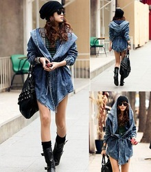 Online Shop Free shipping 2013 New High Quality Women's Denim Coat Hoodie Coat Hooded Outerwear Jeans Jacket WT3101|Aliexpress Mobile
