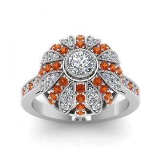 jewels orange sapphire engagement ring amazing engagement ring gorgeous round cut diamond halo engagement ring with orange sapphire side stones evolees.com