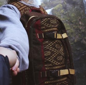bag brown red aztec backpack bookbag black landlock beige detail beige hiking camping tumblr