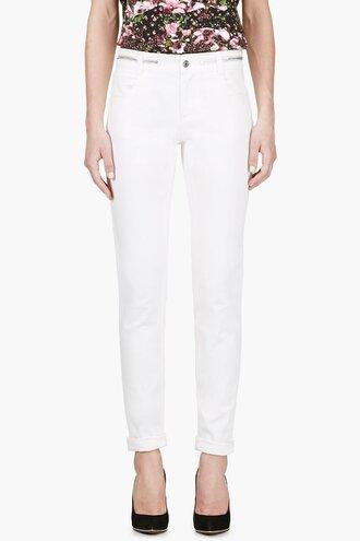 waist white jeans women ivory zip