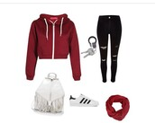 jeans,red sweatshirt,black jeans,red scarf,gold necklace,black key ring,black and white stripped shoess,outfit,burgundy sweater,black ripped jeans,scarf,adidas superstars