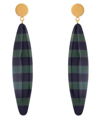 long earrings black green jewels