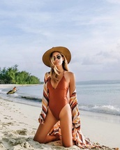 swimwear,hat,sun hat,kimono,beach,one piece swimsuit