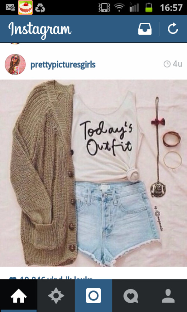 tank top todays outfit ootd knit jewelry tank top top cropped shorts high waisted light blue denim letters black letters white top