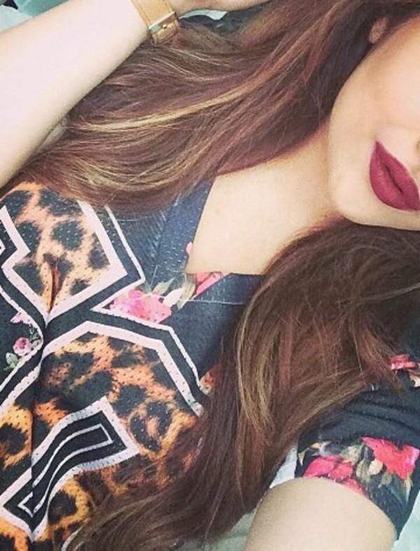 flowers jersey top leopard print